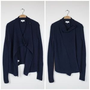 Lou & Grey • Dark Navy Thick knit Snap Cardigan